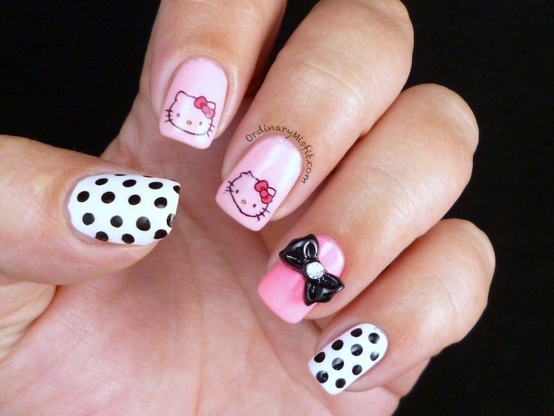 Hello there Kitty nail art by Michelle