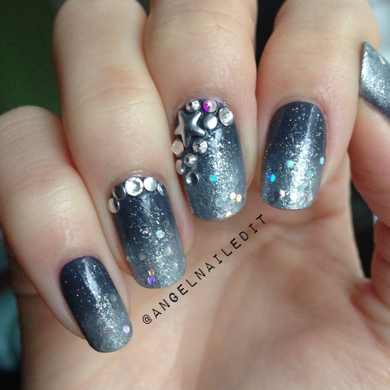 Gradient + Crystals & Studs nail art by Angel Son