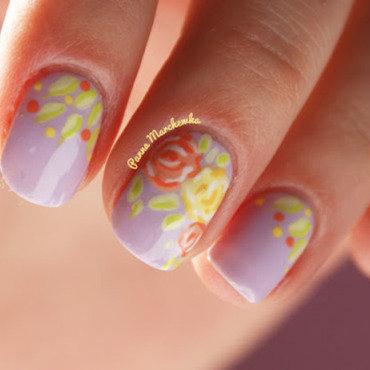 pastel roses  nail art by Panna Marchewka