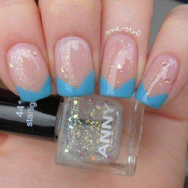 Blue Chevron French Tips nail art by Ann-Kristin