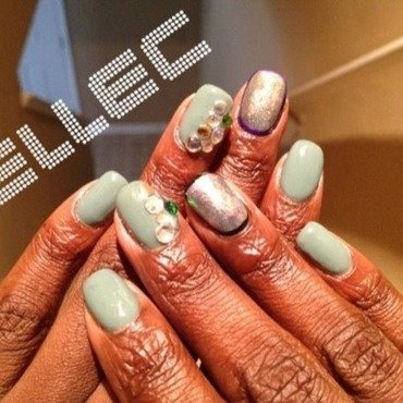 Metallic Watercolor Accents nail art by Elle Carver
