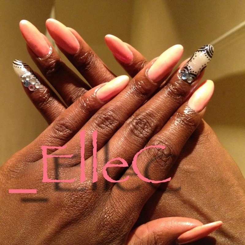 Pink Tribal nail art by Elle Carver