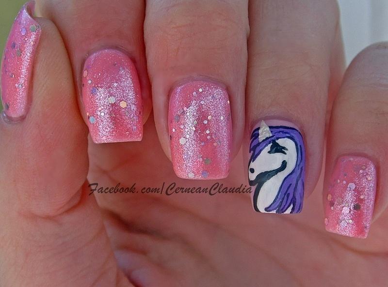 Unicorn Nails nail art by Claudia