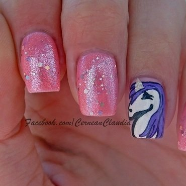 Unicorn Nails nail art by Claudia