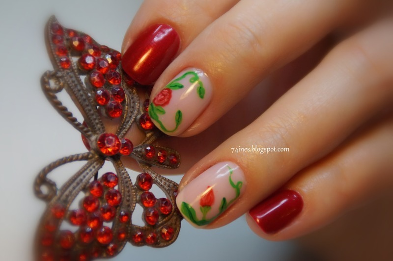 Roses nail art by 74ines