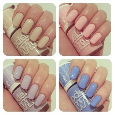 Models Own Pink Veneer, Models Own Lilac Sheen, Models Own Cornflower Gleam, and Models Own Naked Glow Swatch by Rebecca