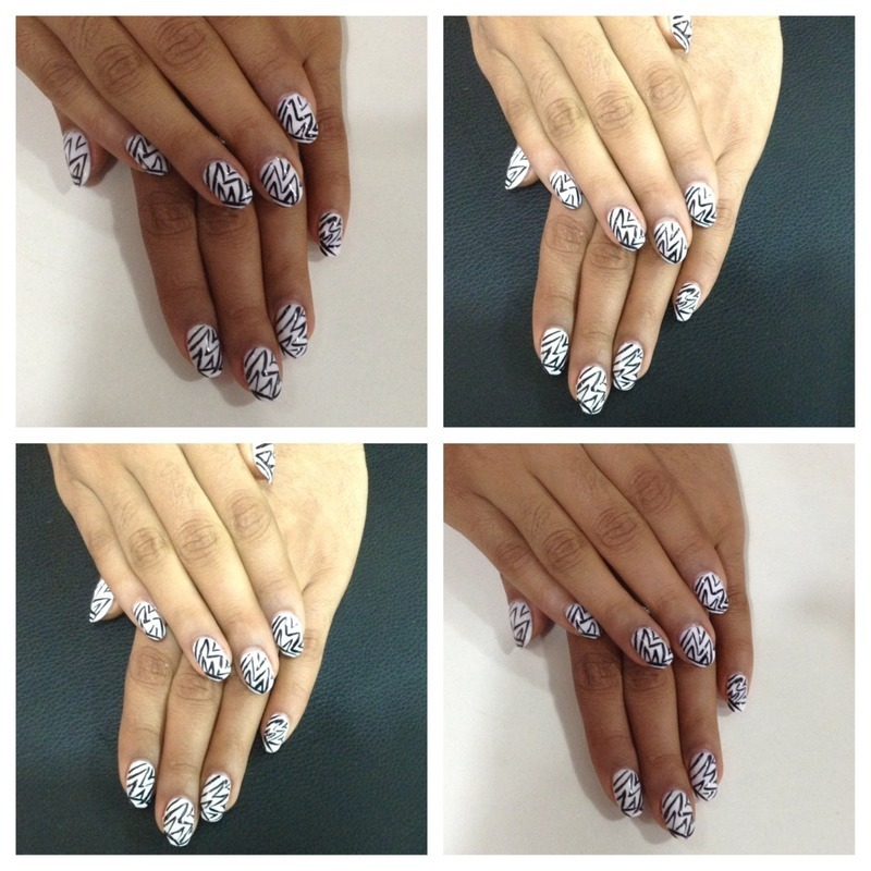 White gel polish with art lines  nail art by Prince  Eyo nsa