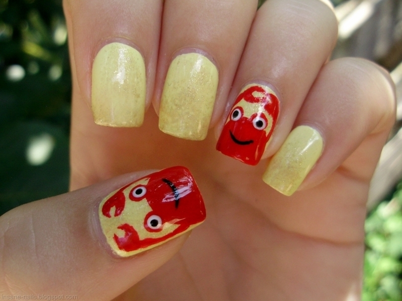 Crab nails nail art by Sanela