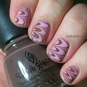 Pink and Chocolate Water Marble nail art by Ashlee