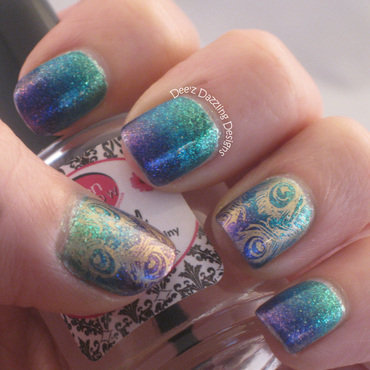 Peacock Gradient and Stamping nail art by Denise