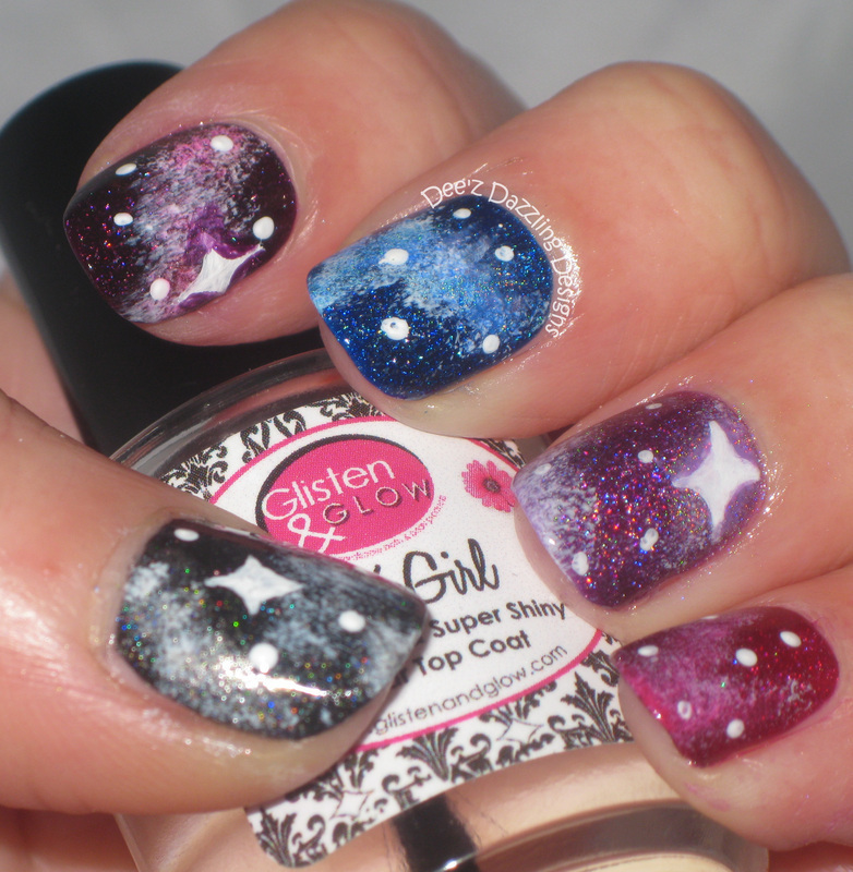 Galaxy Nails - Skittle Style nail art by Denise