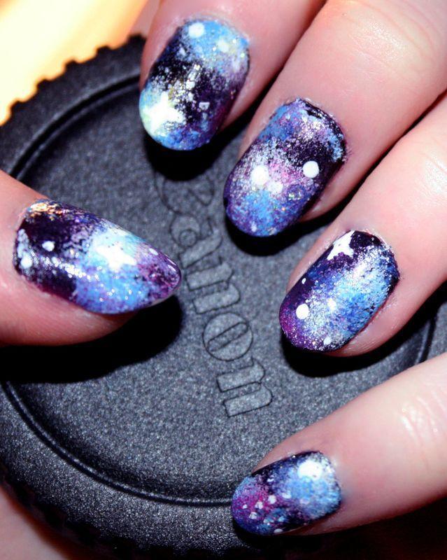 Galaxy nail art by Anya Qiu