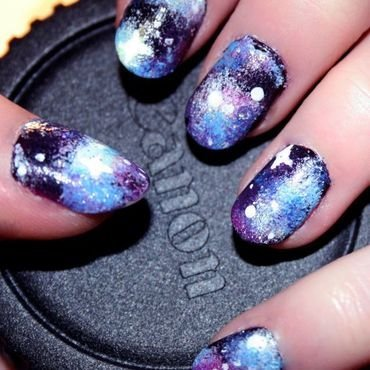 Galaxy nail art by Anya Qiu