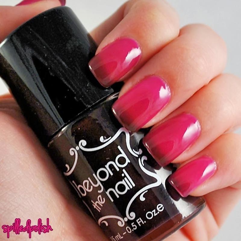 Beyond the Nail Deep Magenta to Bright Magenta Thermal Nail Polish Swatch by Maddy S