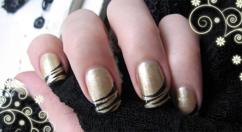 Gold and black nail art by Ninthea