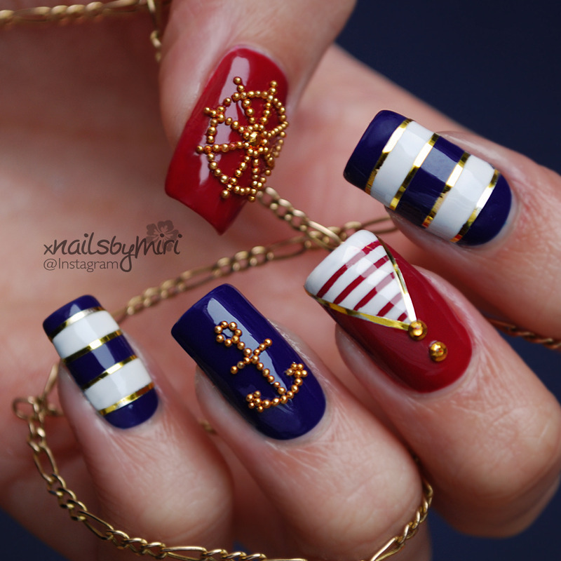 Sailer / Nautical nails nail art by xNailsByMiri - Sailer / Nautical Nails Nail Art By XNailsByMiri - Nailpolis