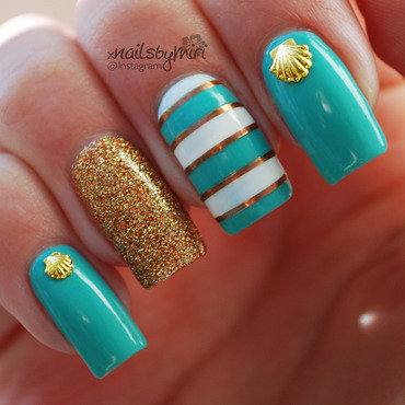 Summer Beach nails nail art by xNailsByMiri