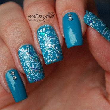 Blue Paisley stampdesign nail art by xNailsByMiri