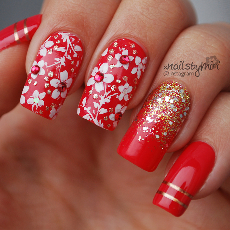 Red sparkle flower design nail art by xnailsbymiri nailpolis red sparkle flower design nail art by xnailsbymiri prinsesfo Choice Image