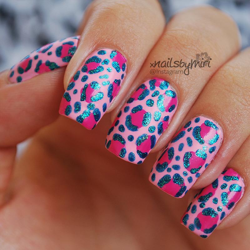 Pink Blue Leopard nail art by xNailsByMiri