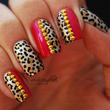 Gold Pink Leopard nail art by xNailsByMiri