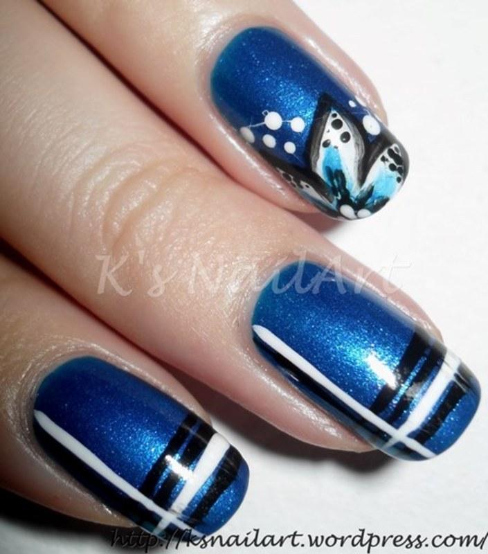 "Blue Floral Nails with Stripes nail art by Kairi E ""K's NailArt"""