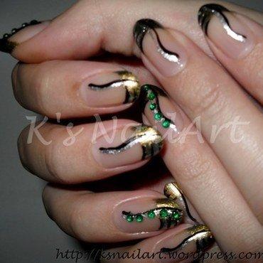 "Metallic French Manicure nail art by Kairi E ""K's NailArt"""