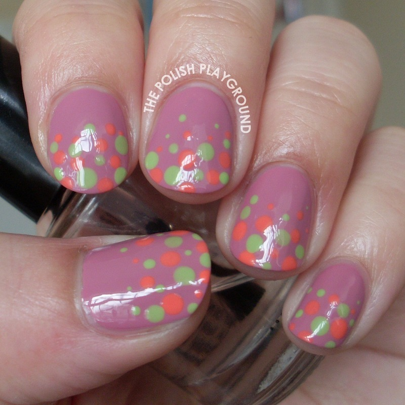 Green and Coral Polka Dot Gradient nail art by Lisa N