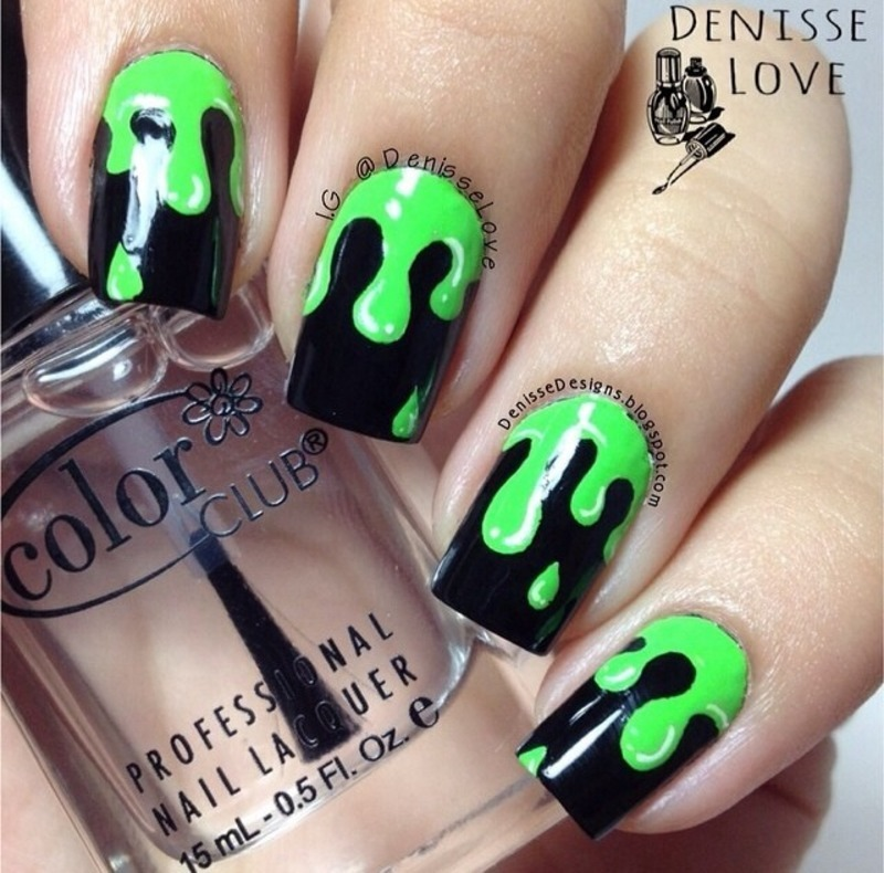 Neon green drips nail art by Denisse Love