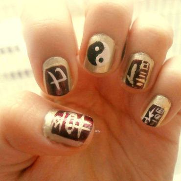 Asian letters nails nail art by Teo