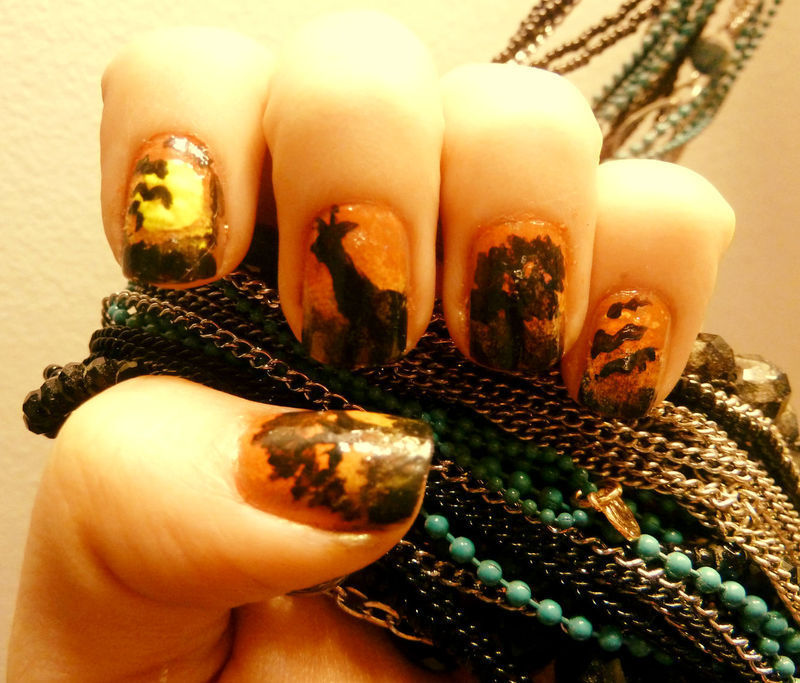 Sunset in Africa nail art by Teo