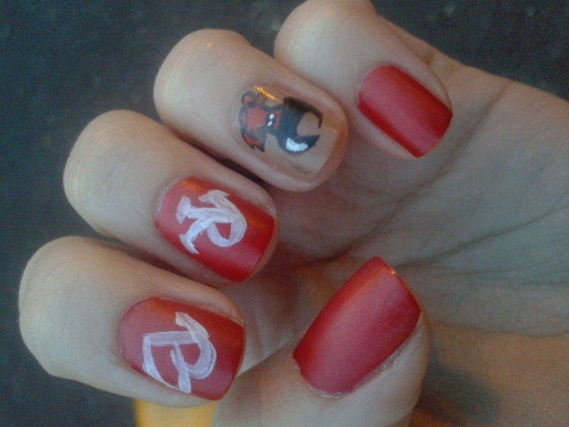 Red bull nails nail art by Teo