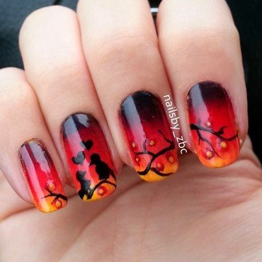 romantic birds nail art by Zeynep Celikel