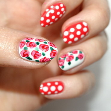 Polish Red Roses nail art by Carolina