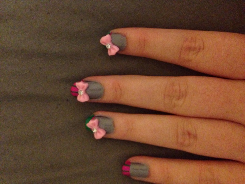 School girl shellac nail art by Nickysnails