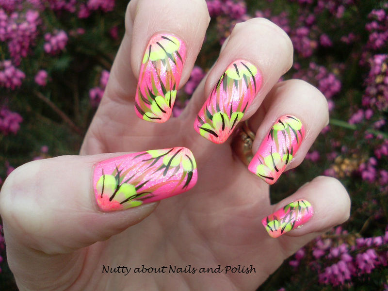 Tropical Flowers nail art by Tracey - Bite no more