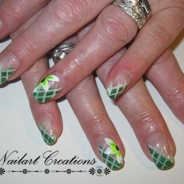 Green Flowery Nailart nail art by Nailart Creations