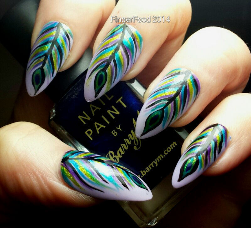 Peacock Feathers nail art by Sam