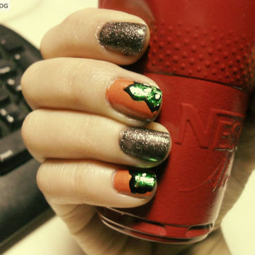 orange red and sparkle nail art by Teo