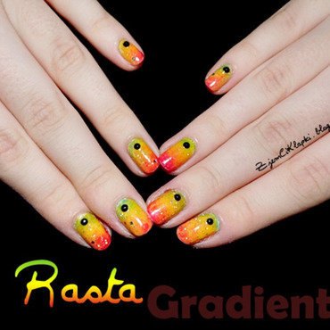 Rasta gradient nail art by SheLazy
