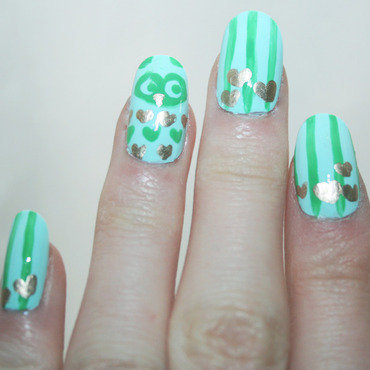 Owl Love nail art by Anya Qiu