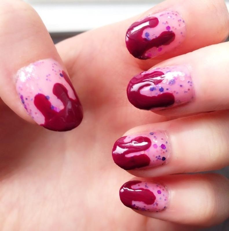 Raspberry Ice Cream nail art by Anya Qiu