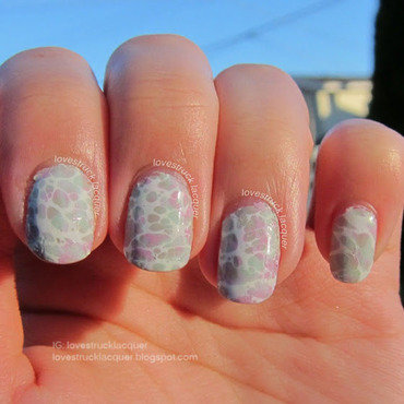 3x Water Spotted Mani nail art by Stephanie L