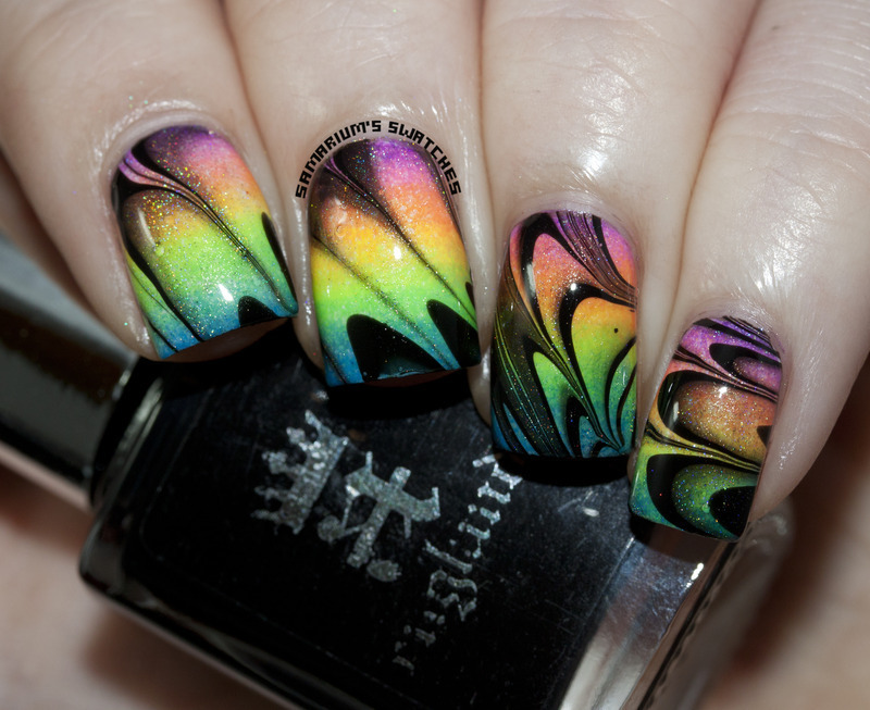 See through Neon Watermarble nail art by Sarah Eubanks