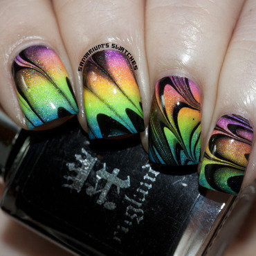 See through Neon Watermarble nail art by Sarah Eubanks