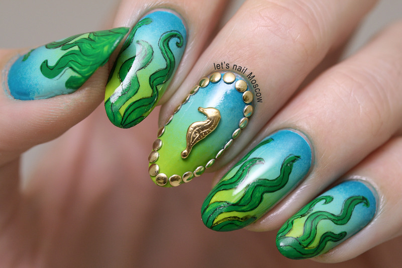 Under The Sea nail art  nail art by Let's Nail Moscow