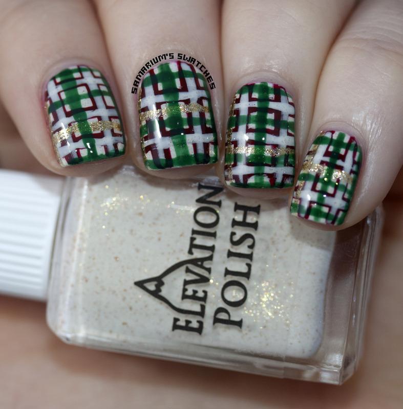 Christmas Plaid nail art by Sarah Eubanks