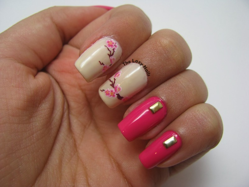 Eye catching Sakura nail art by Hadas Drukker