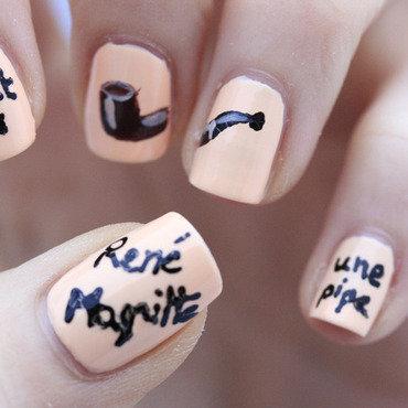 Ceci n'est pas une pipe! nail art by NerdyFleurty
