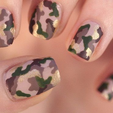 Camouflage nail art by NerdyFleurty